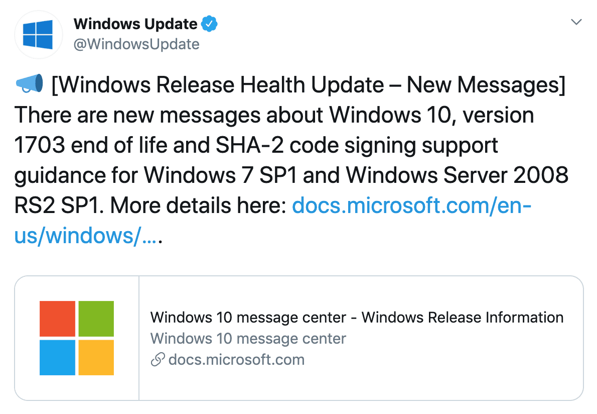 Microsoft Warns that End-of-Life is Near for 1703